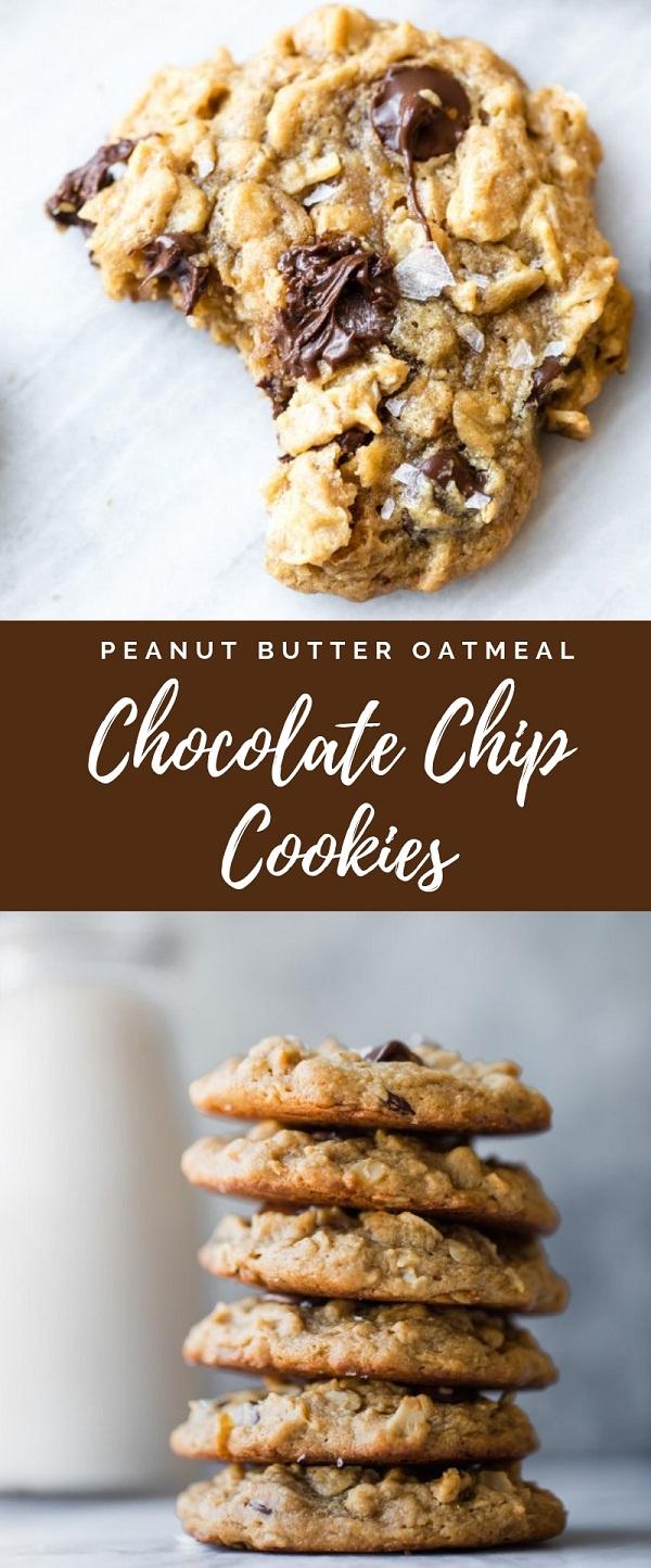 Flourless Peanut Butter Oatmeal Chocolate Chip Cookies