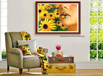 woman-lips-sunflower-art-by-yamy-morrell
