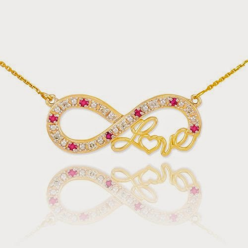 Forever 14k Yellow Gold Love Script Natural Ruby and Diamond