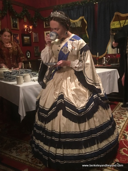 Queen Victoria sips tea at The Great Dickens Christmas Fair in San Francisco