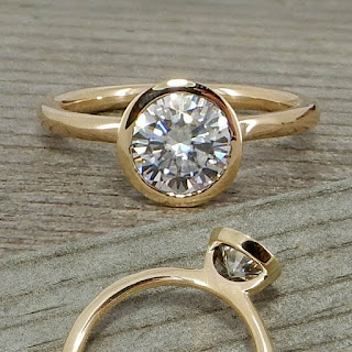 sleek hybrid bezel engagement ring