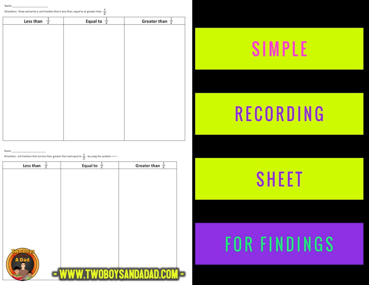 compare fractions recording sheet