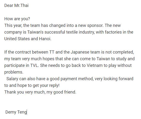 Một CLB Đài Bắc muốn mời Thanh Thúy thi đấu!