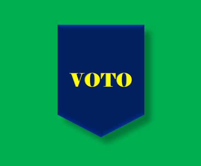Imagem nas cores do Brasil está inscrito a palavra: voto.