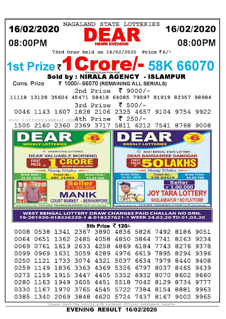 Lottery Sambad 16.02.2020 Nagaland Lottery Result 8 PM-lotterysambadresults.com