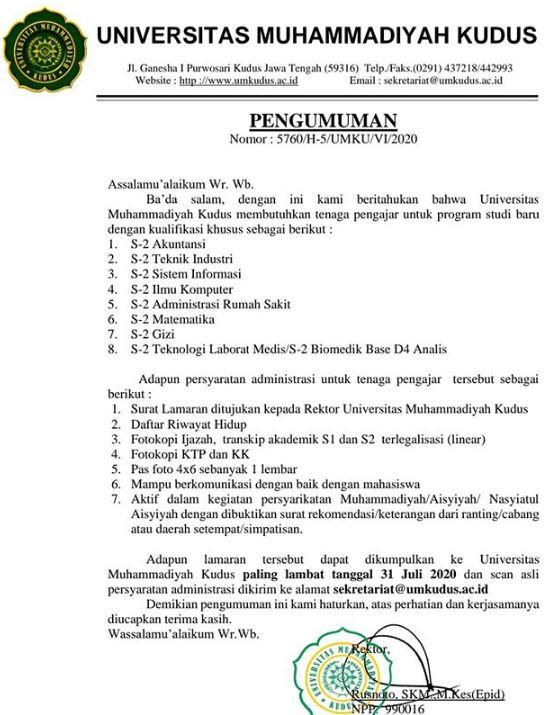 Lowongan Kerja Dosen Universitas Muhammadiyah Kudus