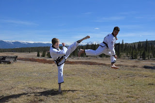 Taekwondo black belts doing high karate kicks and jump kicks