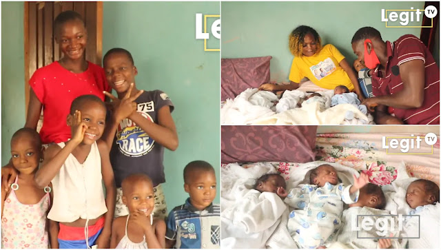 After 6 kids, Woman gives birth to Quadruplets, Unemployed Husband cries out for help