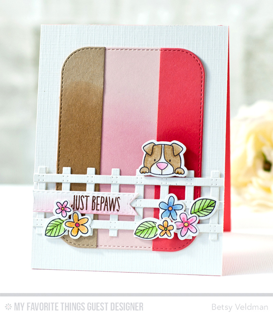 Just Bepaws Card by Betsy Veldman featuring the Build-able Bouquet and Birdie Brown Lucky Dog stamp sets and Die-namics, and the Prairie Fence and Inside & Out Stitched Rounded Rectangle STAX Die-namics #mftstamps