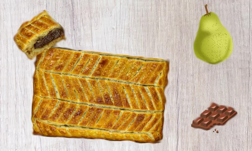 Galette des rois with pear and chocolate