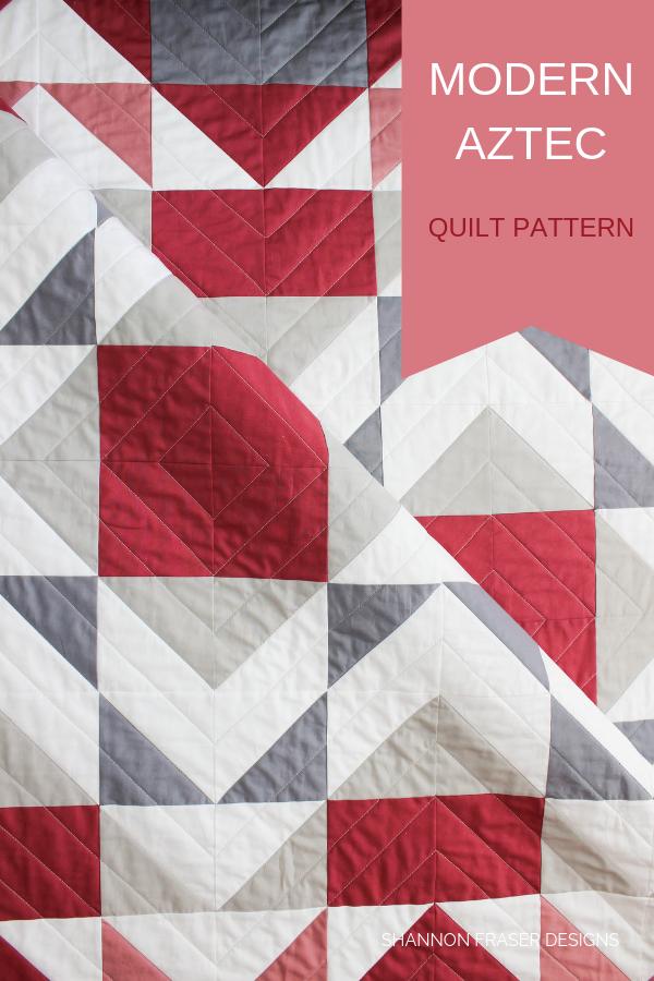 Mod Rose Modern Aztec quilt | Q2 Finish-a-long 2019 | Shannon Fraser Designs #modernquilt