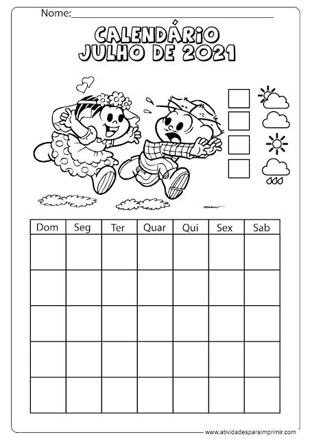 calendário julho de 2021 para imprimir e colorir