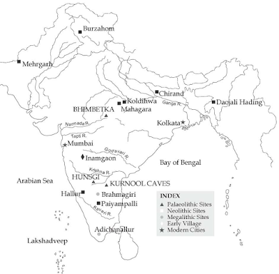 Important Archaeological Sites in India Map