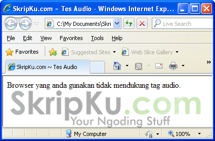 Screenshot jika dibuka browser yang tidak mendukung HTML5