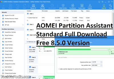AOMEI Partition Assistant Standard Full Download Free 8.5.0 Version