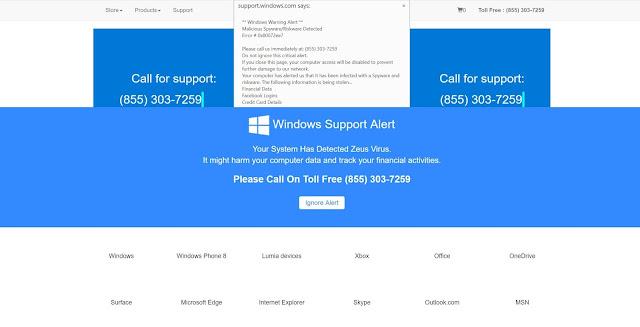 """Virus Alert From Windows"" pop-ups scam"