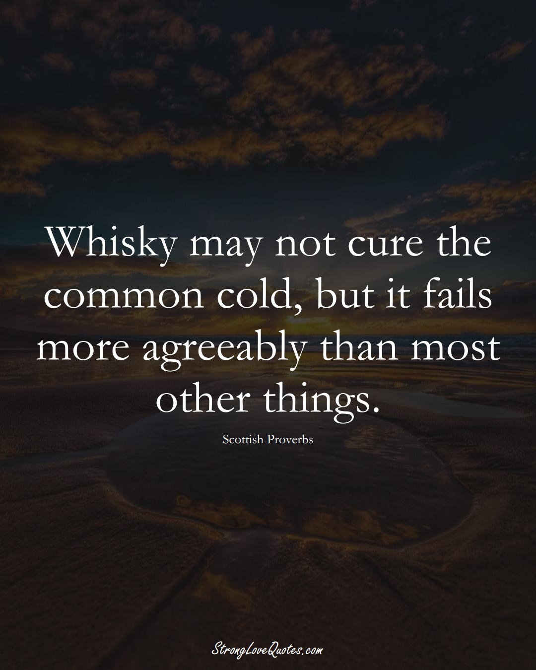 Whisky may not cure the common cold, but it fails more agreeably than most other things. (Scottish Sayings);  #EuropeanSayings