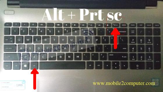 Take screenshot on windows computer using Alt + Prt sc button