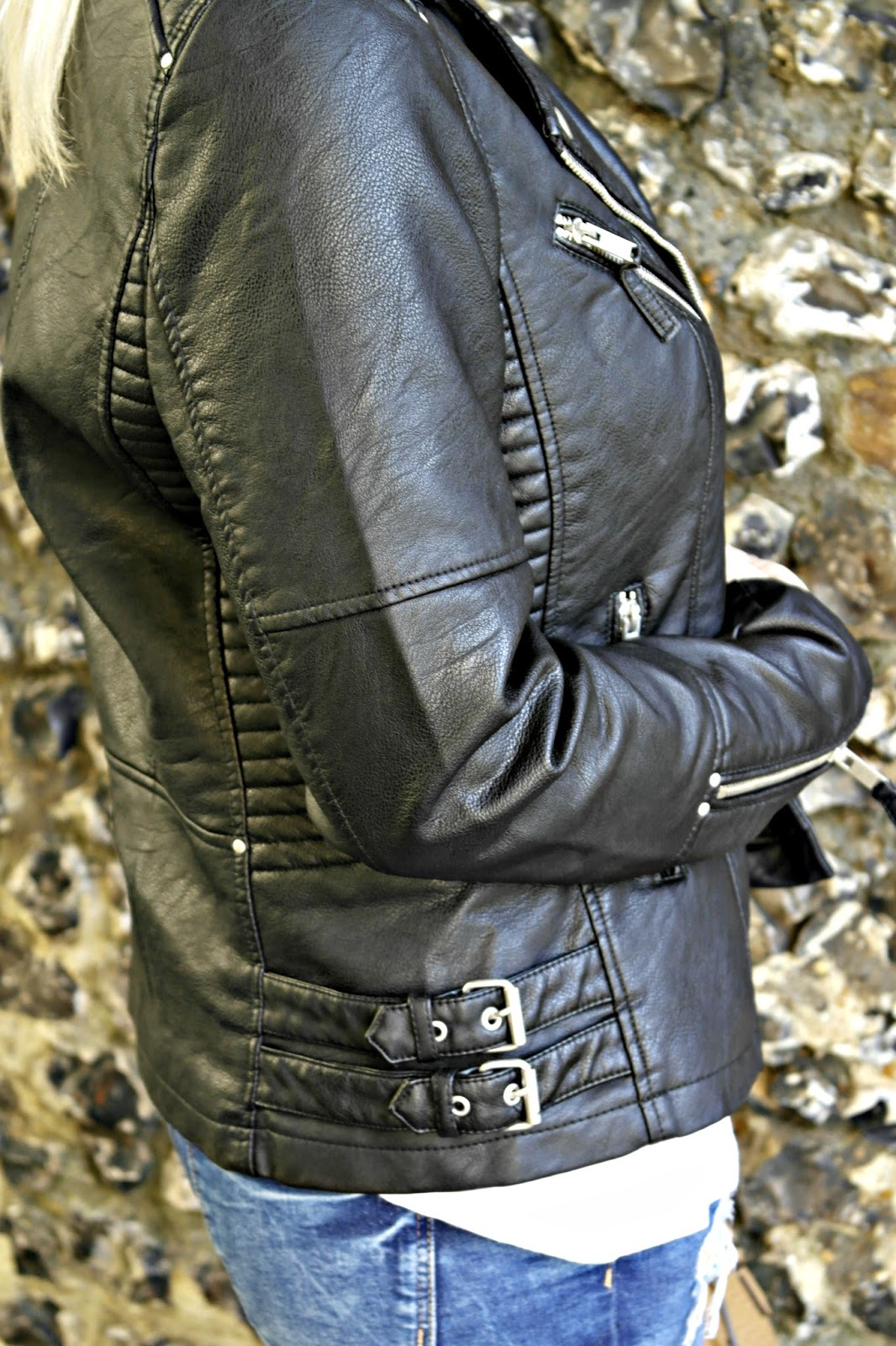 Faux leather jacket from warehouse