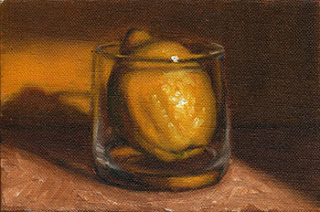 Oil painting of a lemon inside an Old Fashioned Glass.