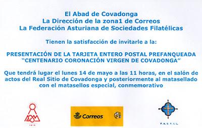 Invitación a la presentación del matasellos y tarjeta prefranqueada de la coronación de la Virgen de Covadonga