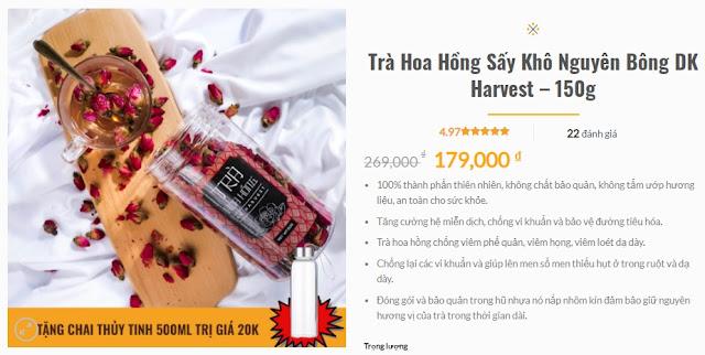 Giá bán trà hoa hồng sấy khô nguyên bông DK