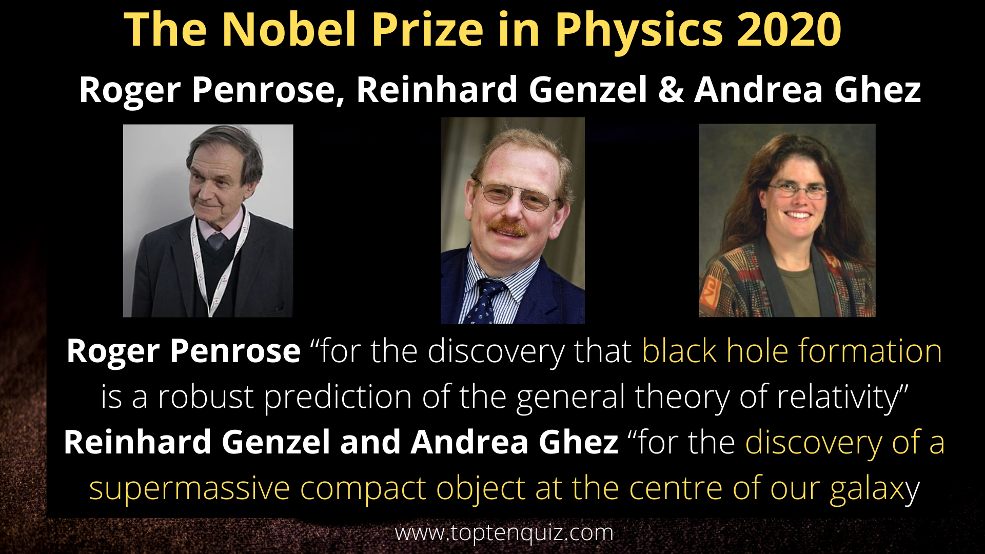 The Nobel Prize in Physics 2020 - Roger Penrose, Reinhard Genzel & Andrea Ghez