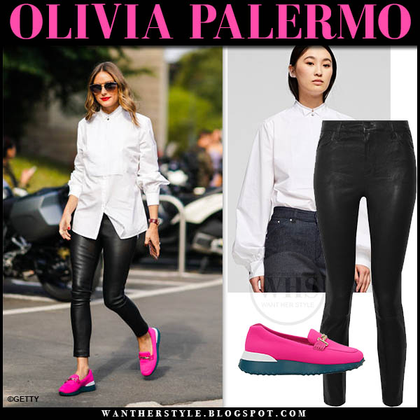 Olivia Palermo In Pink Loafers White Shirt And Black Leather