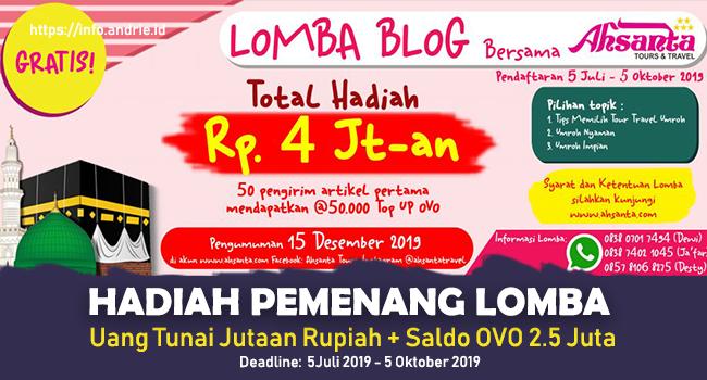 Info Lomba Blog Tour dan Travel Ahsanta - Total Hadiah Jutaan Rupiah + Saldo OVO 2.5 Juta