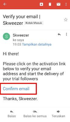Konfirmasi email skweezer untuk menambah Followers Instagram