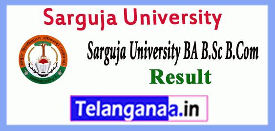Sarguja University Supply BA B.Sc B.Com Result