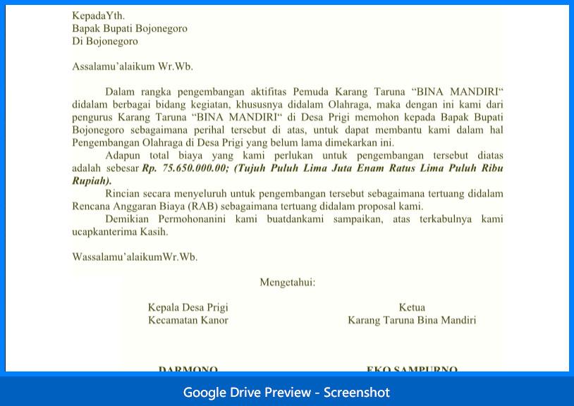 Contoh Surat Permohonan Bantuan Dana Kegiatan Lomba (Olah Raga)