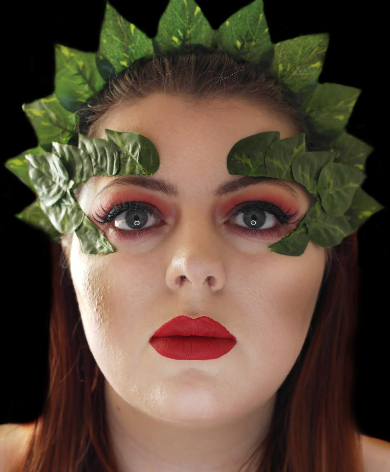 POISON IVY COSTUME EYE MASK FANCY DRESS GREEN GLITTER EYEBROW COSPLAY HALLOWEEN