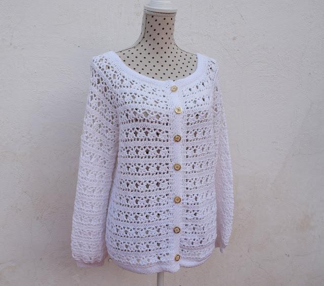 4 - Crochet Imagen Chaqueta blanca a crochet y ganchillo por Majovel Crochet
