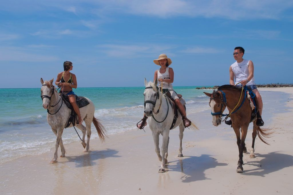 Езда верхом на пляже Багамских островов