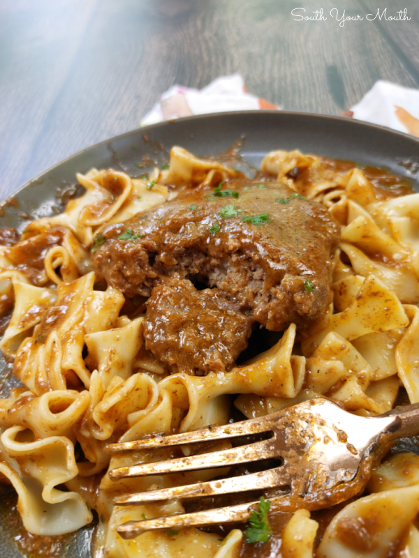 Shortcut Crock Pot Hamburger Steaks and Gravy! A super simple slow cooker recipe for Hamburger Steaks or Salisbury Steak using FROZEN ground beef patties and just a few other ingredients.