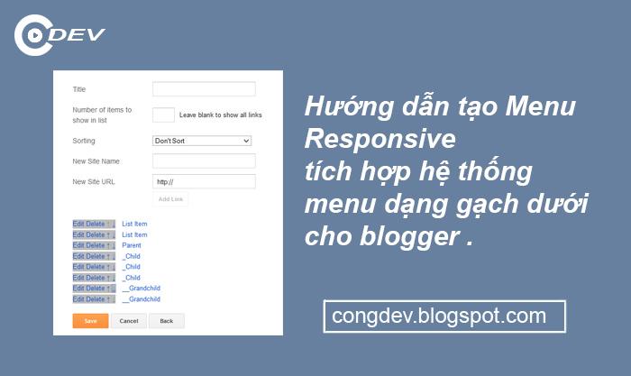 Hướng dẫn tạo Menu Responsive tích hợp hệ thống menu dạng gạch dưới cho blogger - CongDEV