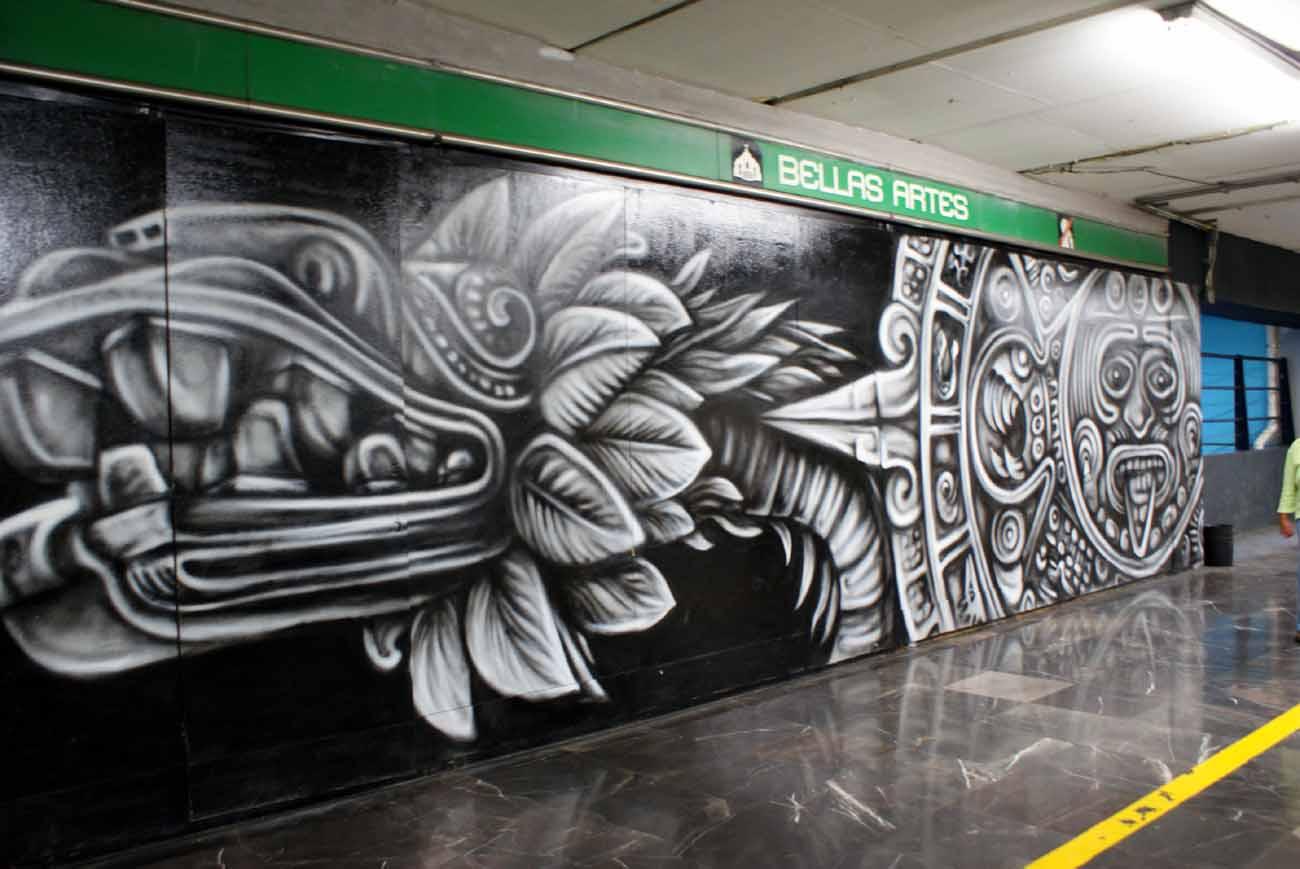 Mural de la piedra al aerosol corredor metro bellas artes for Arte colectivo mural