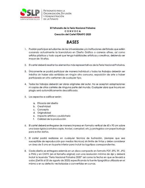 convocatoria cartel fenapo 2020