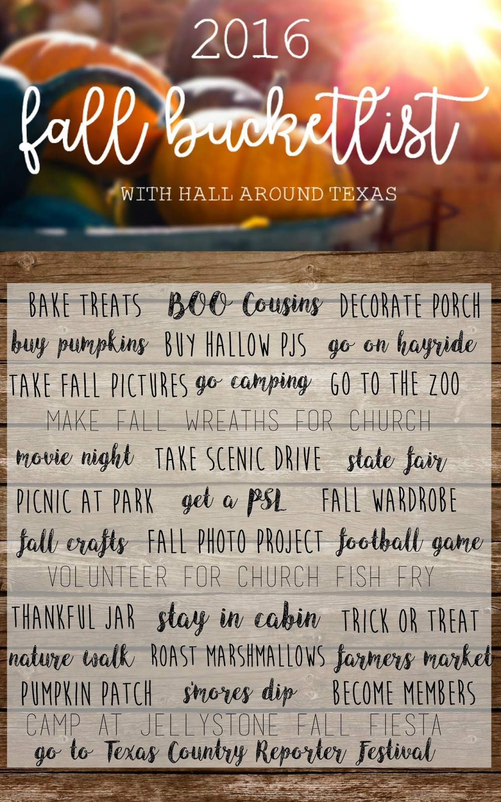 Hall Around Texas Fall Bucketlist