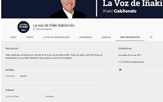 """Visitas acumuladas del canal """"La Voz de Iñaki Gabilondo"""""""