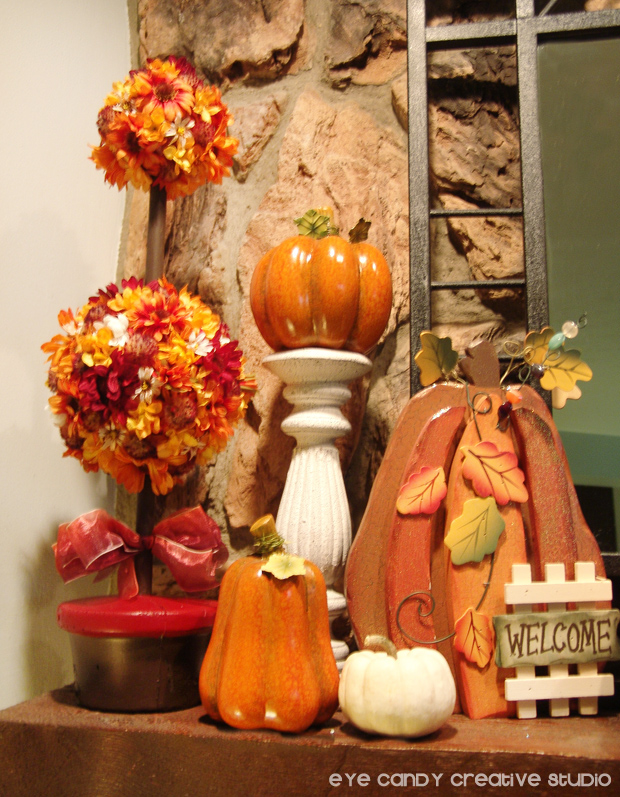 fall mantle decor, decorting for fall, pumpkins, flowers, welcome sign