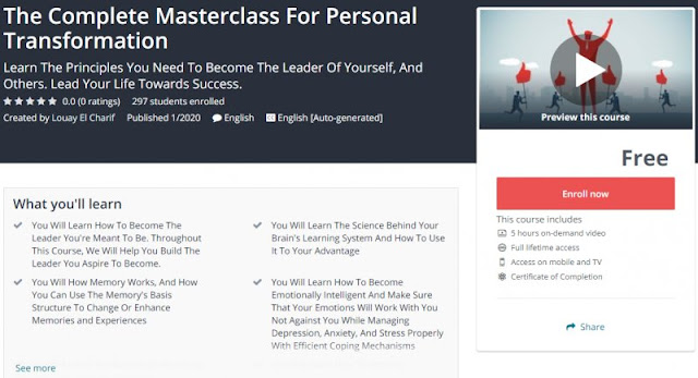 [100% Free] The Complete Masterclass For Personal Transformation