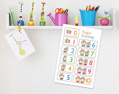 Mama Love Print Printable - 1 to 10 數字早教掛牆圖手指篇 Numbers 1 to 10 Poster with Little Fingers Free Download Freebies Printable