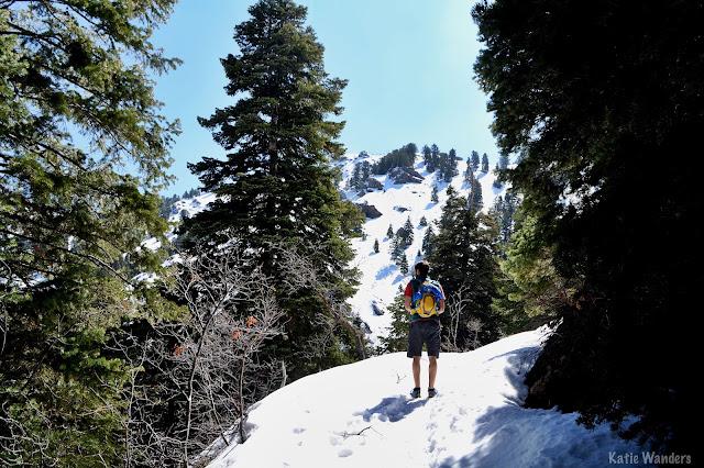 snow on the trail to Malan's Peak