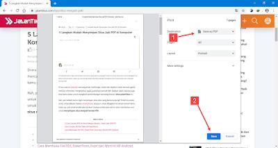 save halaman web menjadi pdf di komputer