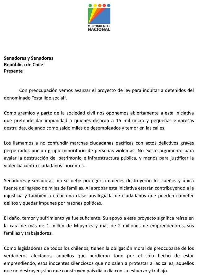 Gremios solicitan a Senadores rechazar proyecto de indulto