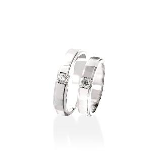 Nhẫn đôi kim cương vàng trắng đơn giản, thanh lịch