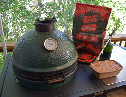 Big Green Egg, BGE Modular Nest. JJ George Grill Torch and Jealous Devil charcoal