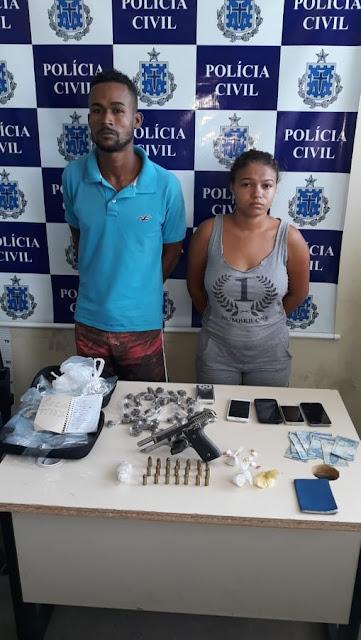 SAJ: Casal é preso por tráfico de drogas e porte  illegal de arma de fogo